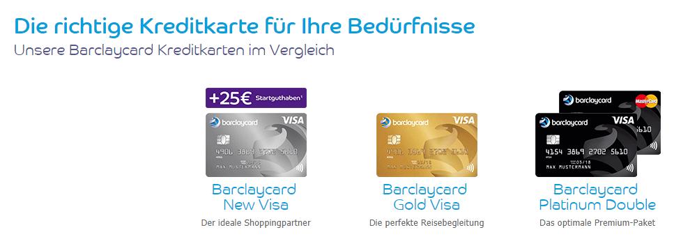 Neben der Platin-Version gibt es auch noch weitere Barclaycard Kreditkarten im Vergleich.