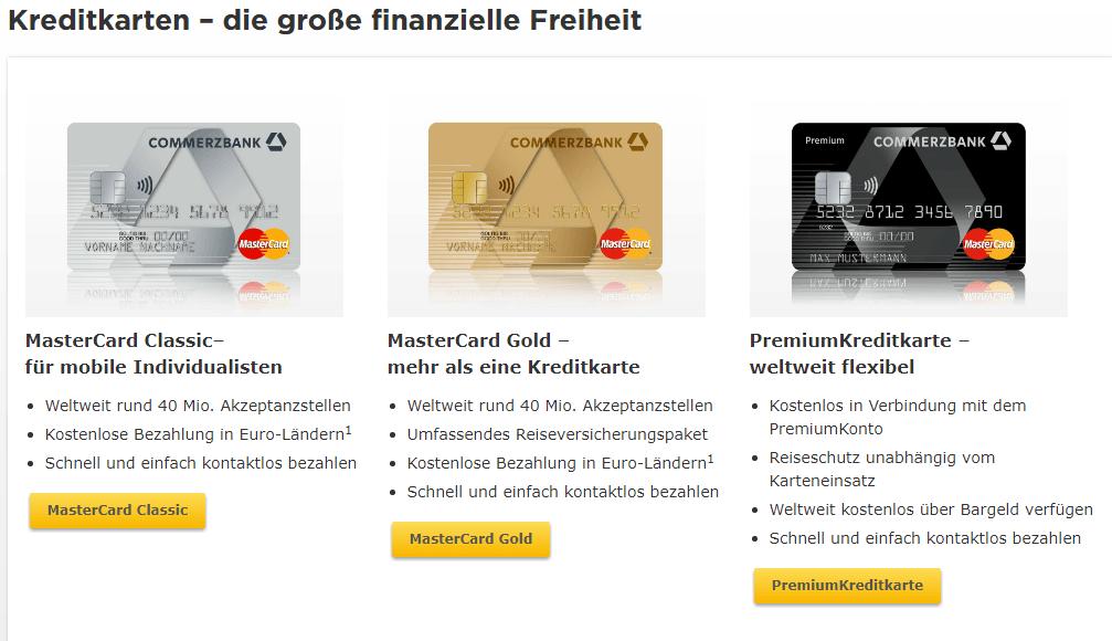 commerzbank kreditkarten übersicht Commerzbank Mastercard