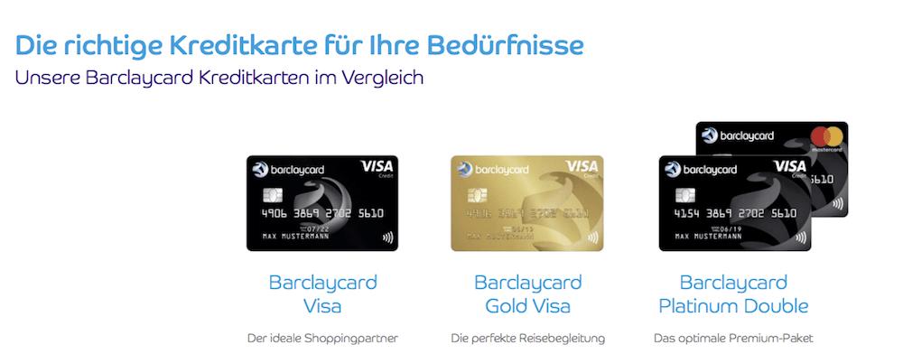 Barclay stellt verschiedene Kreditkarten zur Verfügung