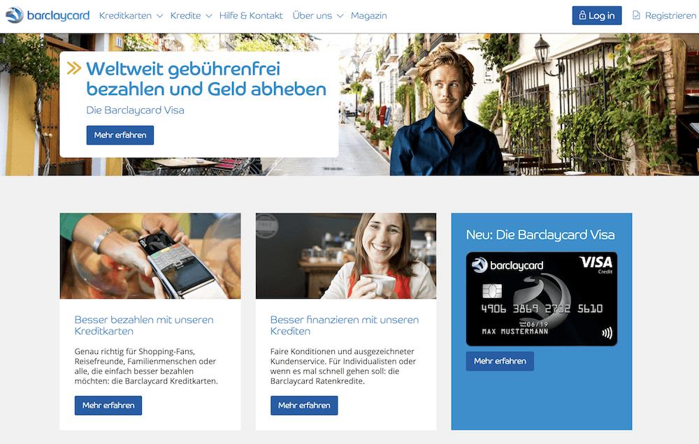 Barclaycard Webseite