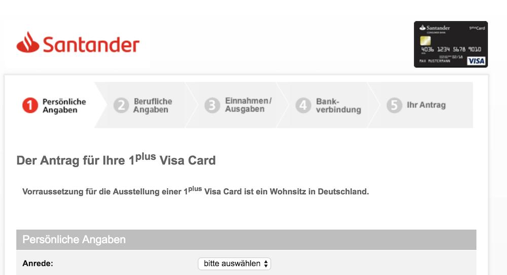 Santander 1plus Visa Card Beantragung